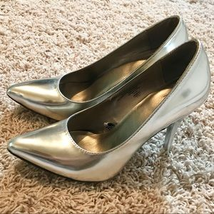 Silver Pointy Toe Pumps